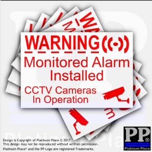 1 x CCTV & Monitored Alarm System Installed,Video Recording Camera-Security Warning Adhesive Vinyl Signs